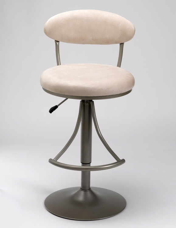 Venus Metal Swivel Bar Stool with Fawn Suede