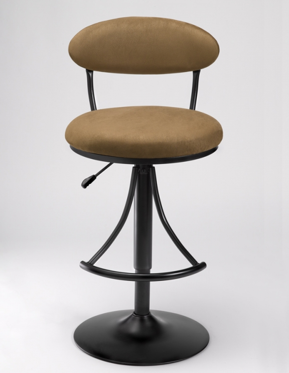 Venus Metal Swivel Bar Stool with Bear Suede - Hillsdale