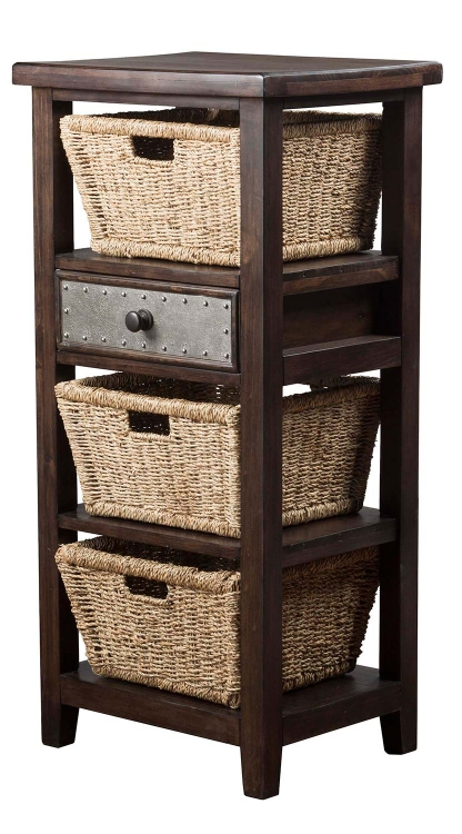 Tuscan Retreat Basket Stand with 3-Basket - Smoke