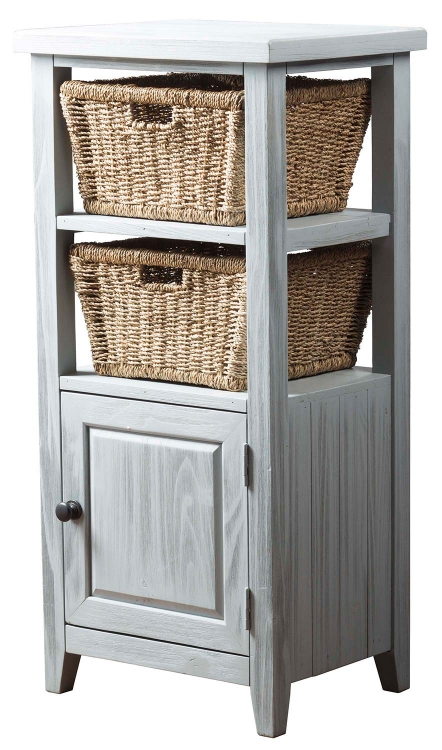 Tuscan Retreat Basket Stand with 2-Baskets - Blue Wood Wirebrush