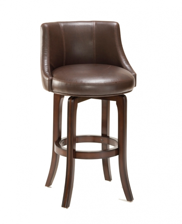 Napa Valley Swivel Counter Stool - Brown Leather - Hillsdale