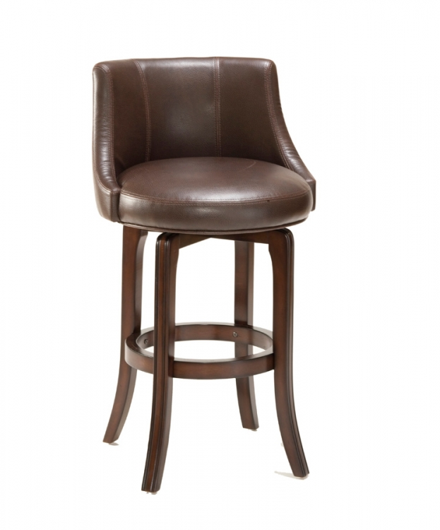 Napa Valley Swivel Bar Stool - Brown Leather - Hillsdale