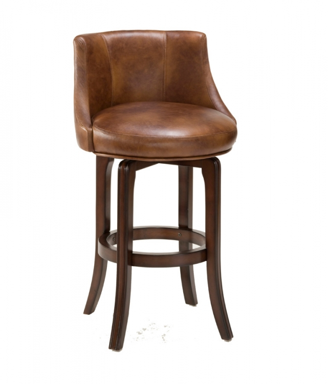 Napa Valley Swivel Bar Stool - Antique Brown Fabric