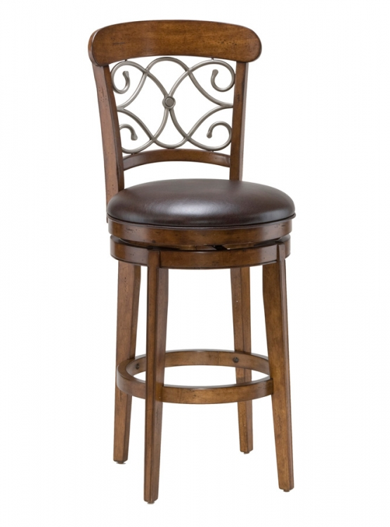 Bergamo Swivel Counter Stool - Medium Brown Cherry