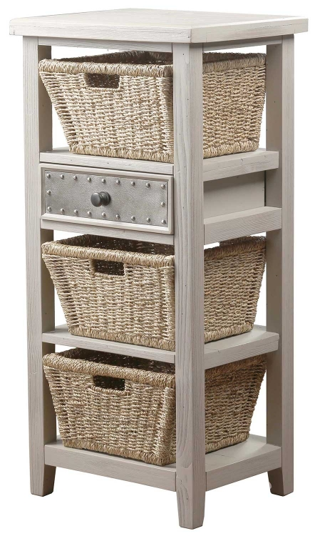Tuscan Retreat Basket Stand with 3-Basket - Taupe