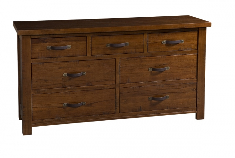 Outback Split 7 Drawer Dresser - Distressed Chestnut