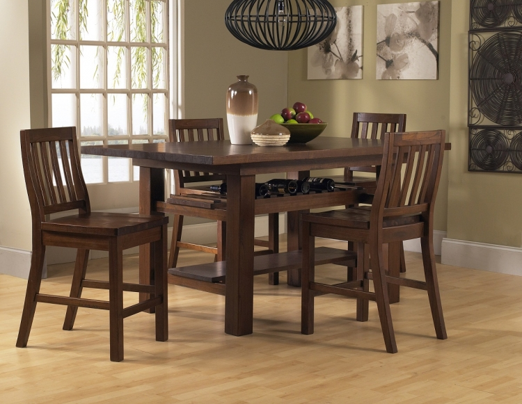 Outback 5-Piece Counter Height Dining Set - Distressed Chestnut - Hillsdale