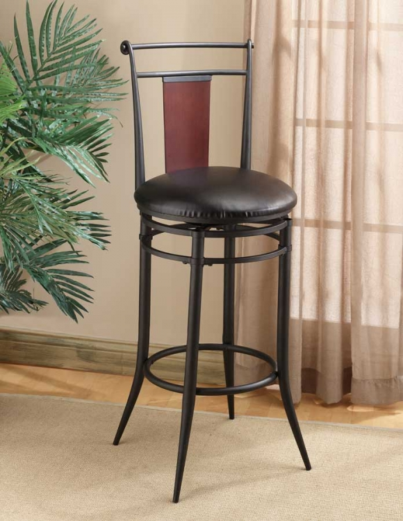 Midtown Metal Swivel Wood Back Counter Stool