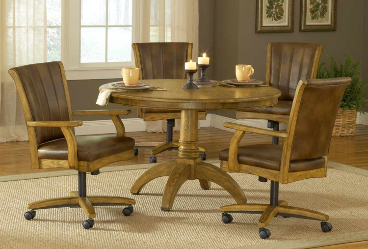Grand Bay Round Dining Set with Caster Chair - Oak - Hillsdale