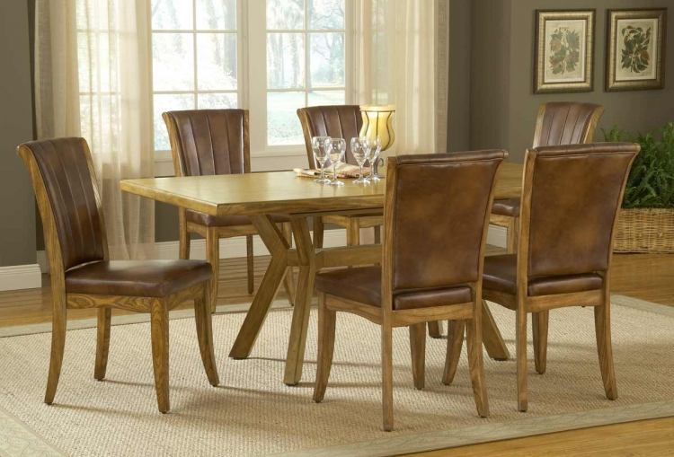 Grand Bay Rectangle Dining Set with Dining Chair - Oak - Hillsdale