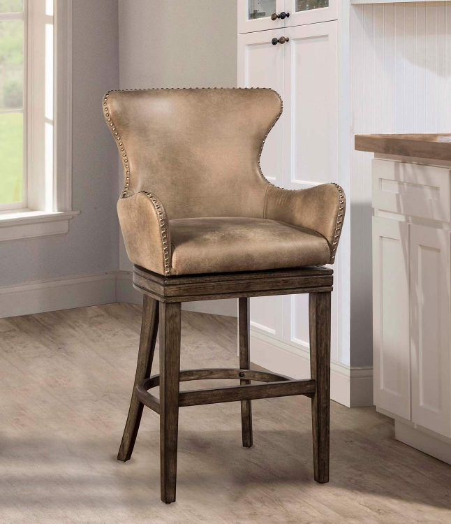 Caydena Swivel Counter Stool - Rustic Gray
