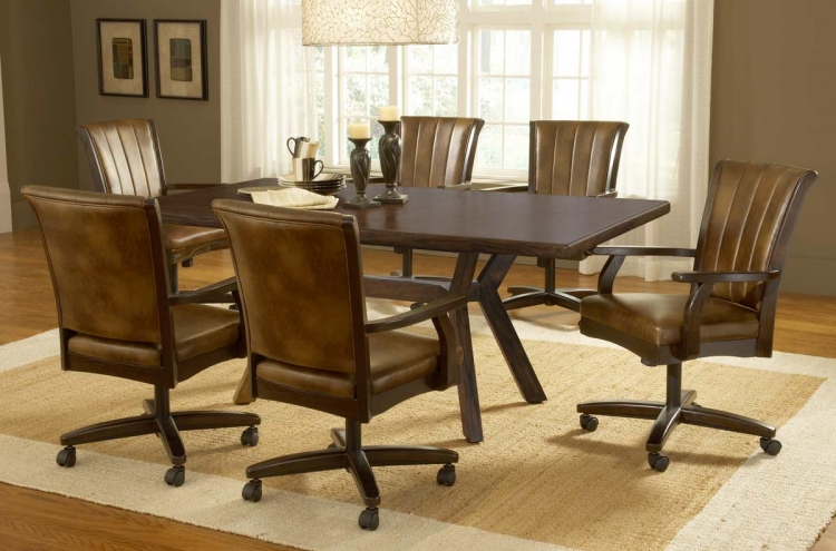 Grand Bay Rectangle Dining Set with Caster Chair - Cherry - Hillsdale