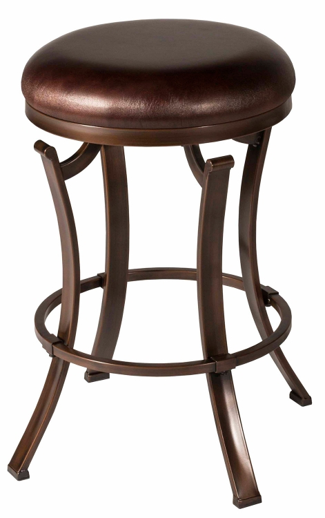Kelford Swivel Backless Counter Stool - Black - Cocoa Fabric