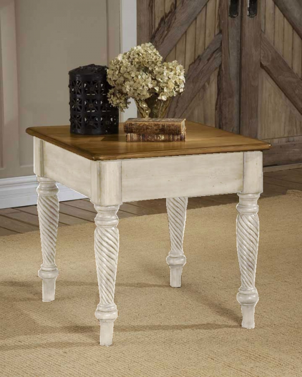 Wilshire End Table - Antique White - Hillsdale