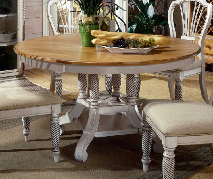 Wilshire Round Oval Dining Table - Antique White - Hillsdale