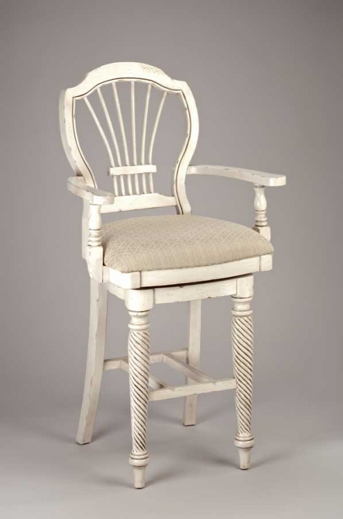 Wilshire Swivel Wood Bar Stool with Arms - Antique White