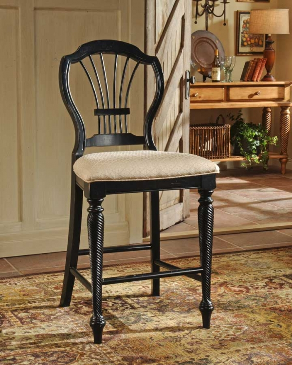 Wilshire Non-swivel Counter Stool - Rubbed Black - Hillsdale