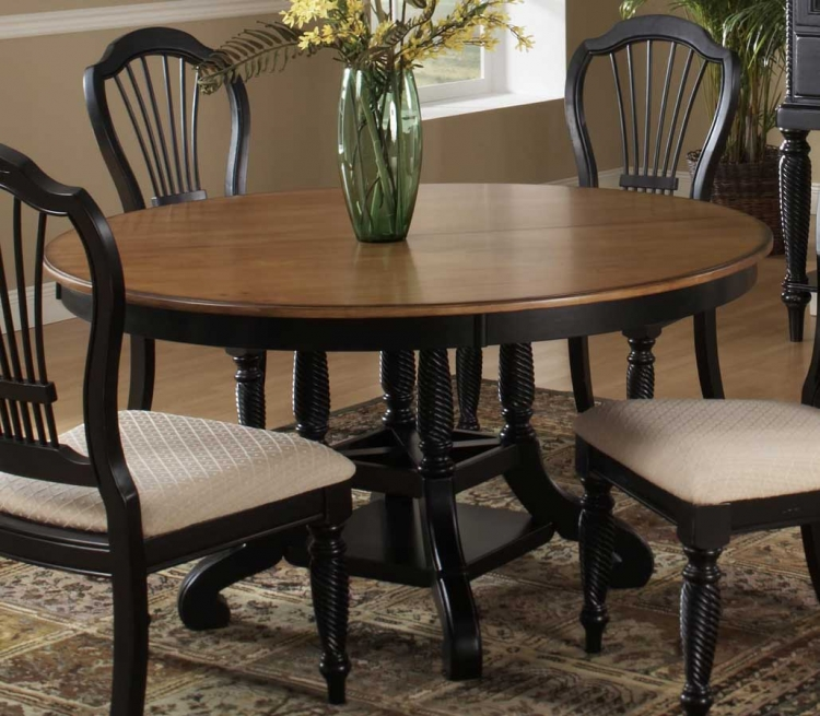 Wilshire Round Oval Dining Table - Rubbed Black - Hillsdale