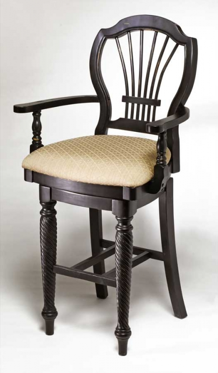 Wilshire Swivel Wood Counter Stool with Arms - Rubbed Black