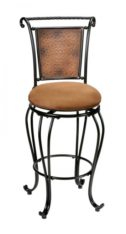 Milan Metal Swivel Counter Stool - Hammered Copper - Hillsdale