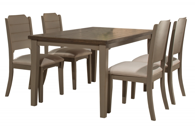 Clarion 5-Piece Rectangle Dining Set - Gray - Fog Fabric