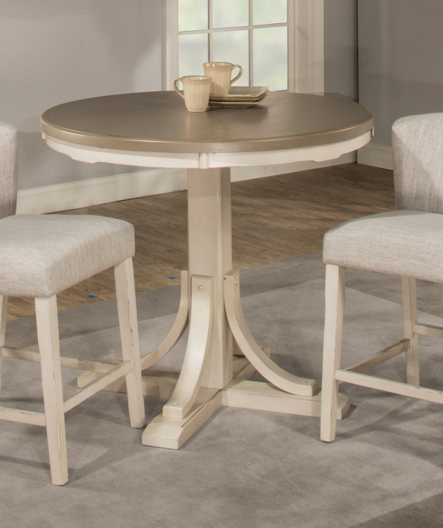 Clarion Round Counter Height Dining Table - Gray/White