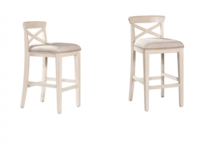 Bayview Non-Swivel Counter Stool - White Wirebrush - Silver Fabric