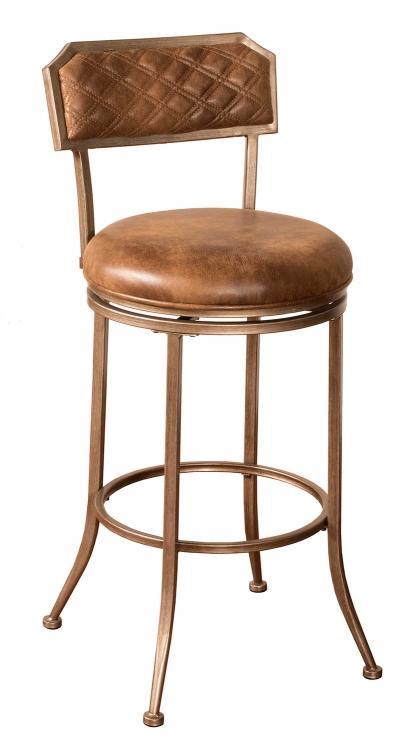 Grant Swivel Counter Stool - Bronze Pewter - Walnut Faux Leather