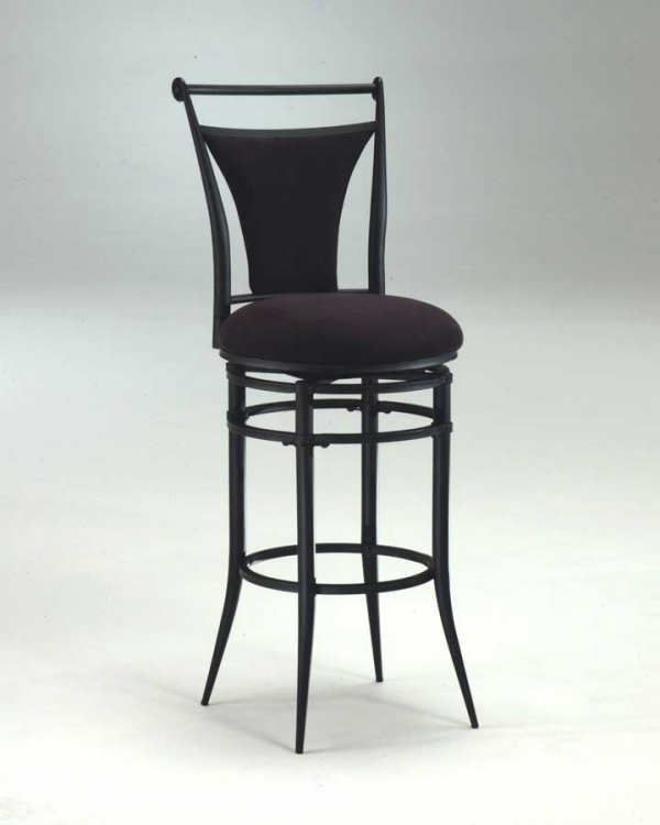 Cierra Metal Swivel Counter Stool - Black Fabric - Hillsdale