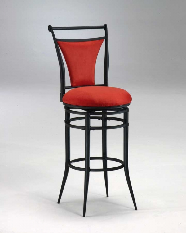 Cierra Metal Swivel Counter Stool - Flame Fabric - Hillsdale
