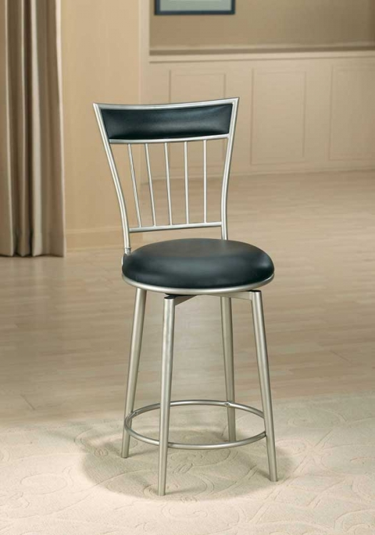 Benson Metal Swivel Bar Stool with Black Vinyl KD Construction - Hillsdale