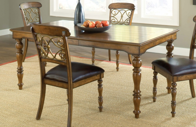 Bergamo/Arlington Dining Table - Weathered Brown - Hillsdale