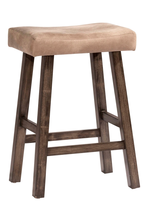 Saddle Non-Swivel Backless Counter Stool - Rustic Gray - Taupe Faux Leather