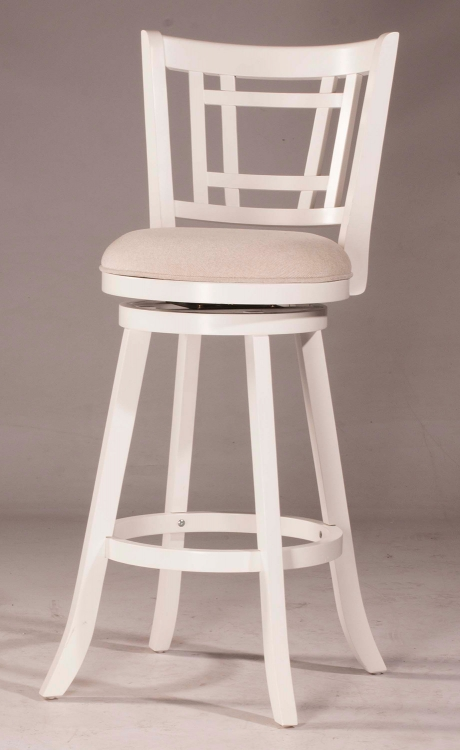 Fairfox Swivel Counter Stool - White - Ecru Fabric