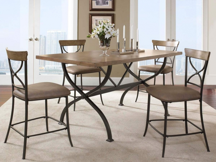 Charleston Rectangular Counter Height Dining Set With X-Back Stool