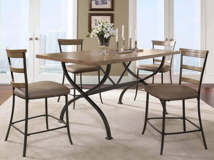 Charleston Rectangular Counter Height Dining Set With Ladder Back Stool