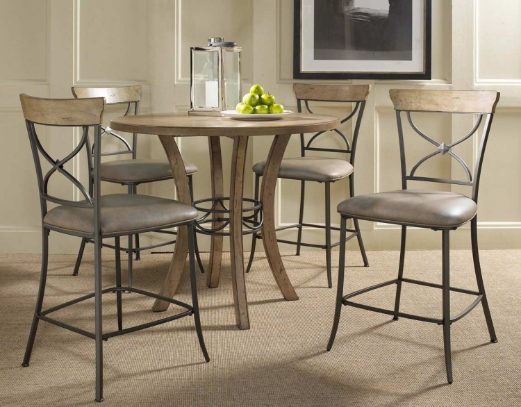 Charleston Round Counter Height Dining Set With X-Back Stool