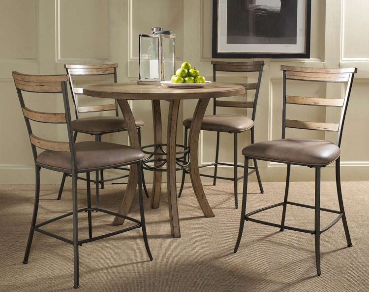 Charleston Round Counter Height Dining Set With Ladder Back Stool - Hillsdale
