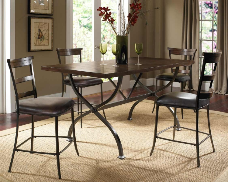 Cameron Rectangular Counter Height Dining Set With Ladder Back Stool