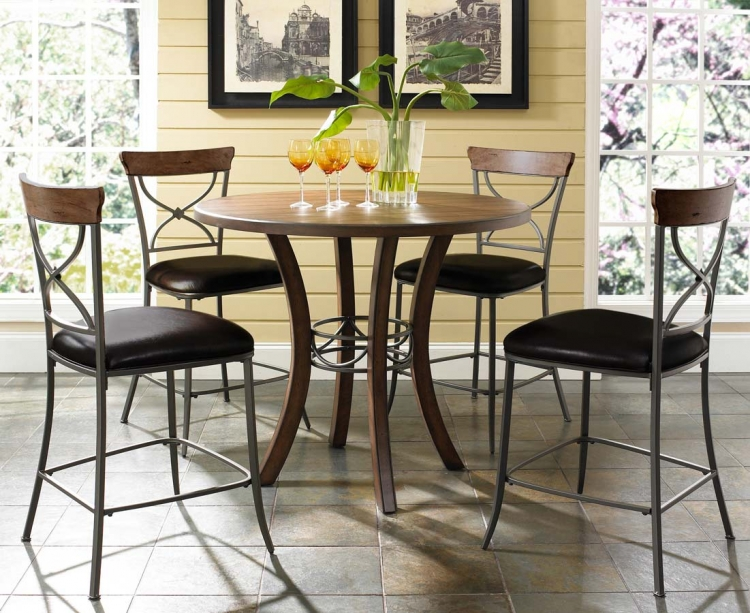 Cameron Counter Height Round Dining Set With X-Back Stool - Hillsdale