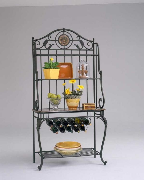 Monroe Bakers Rack with Stone Shelf