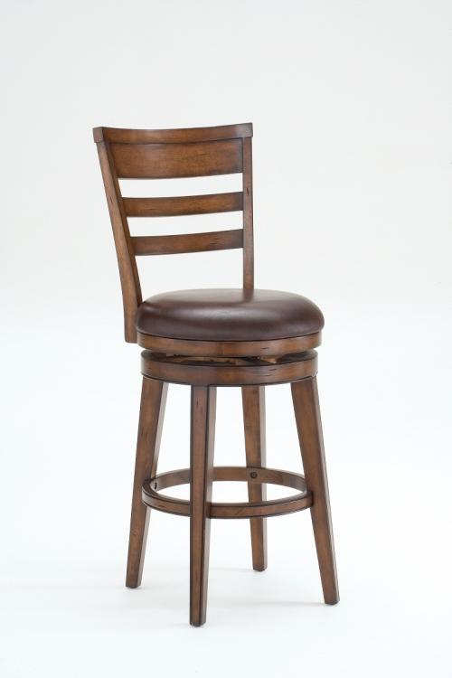 Villagio Swivel Counter Stool - Ladder Back - Dark Chestnut