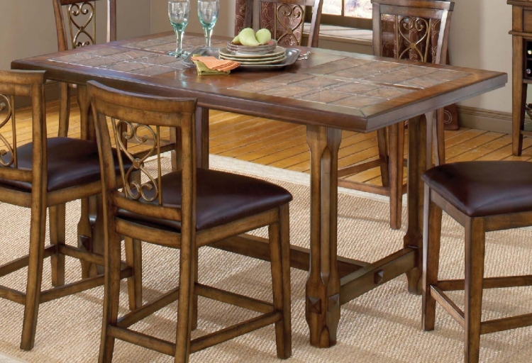 Villagio Trestle Counter Height Dining Table - Dark Chestnut - Hillsdale