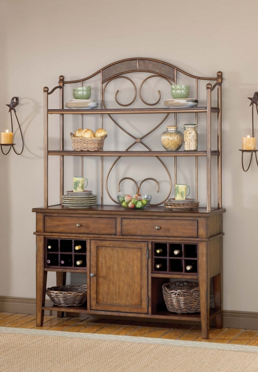 Villagio Server And Hutch - Dark Chestnut - Hillsdale
