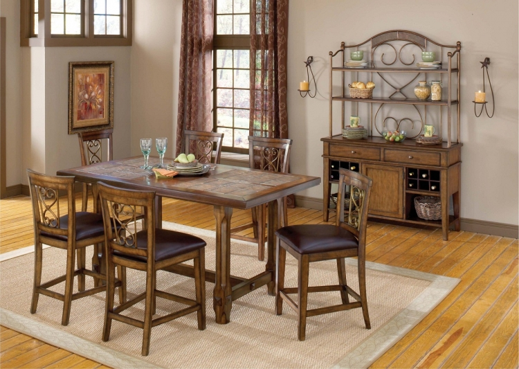 Villagio 7-Piece Counter Dining Set - Dark Chestnut - Hillsdale
