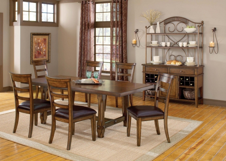 Villagio 7-Piece Dining Set - Dark Chestnut - Hillsdale