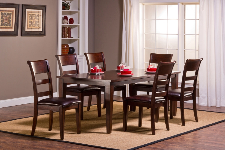 Park Avenue 7 piece Dining Set with Leg Table - Dark Cherry
