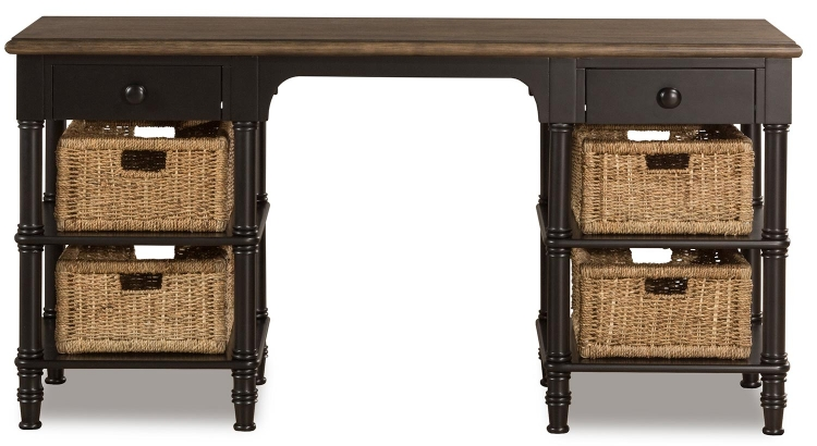 Seneca Desk with 4 Baskets - Waxed Black/Natural Seagrass