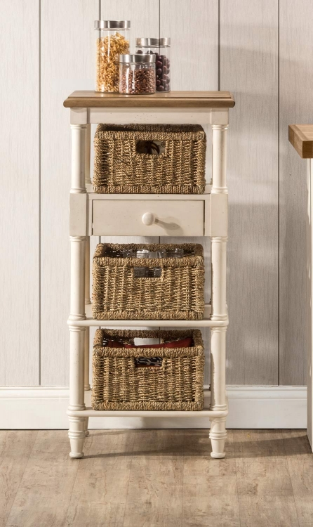Seneca Tall Basket Stand with 3 Baskets - Driftwood/Sea White/Natural Seagrass