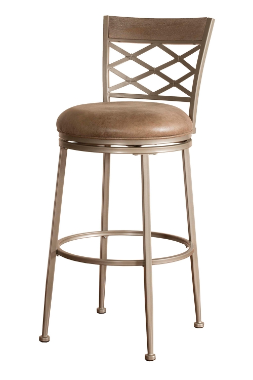 Hutchinson Swivel Counter Stool - Pewter - Aged Ivory Fabric